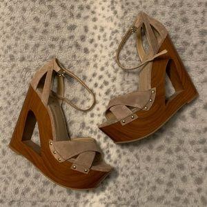 New suede wedge wood like heel.